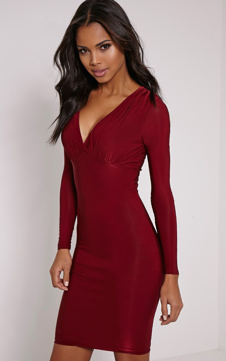 Adirenne Wine Slinky Deep V Neck Mini Dress 1