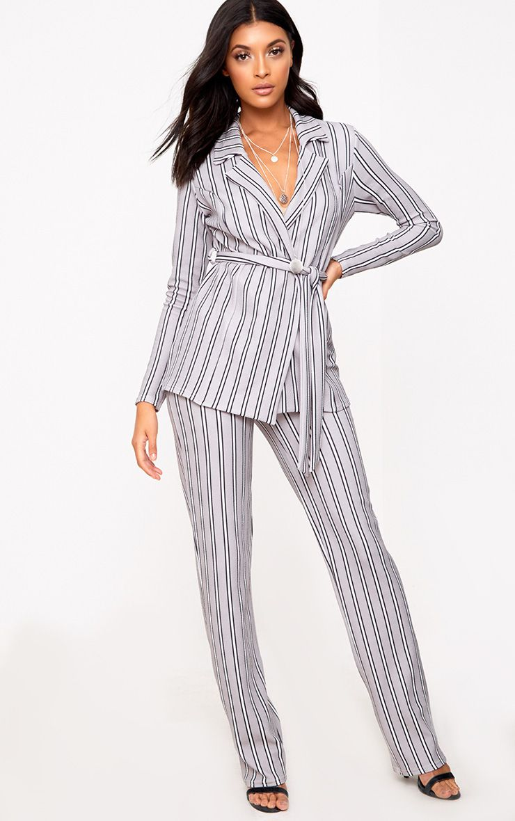 Grey Stripe Straight Leg Suit Trousers