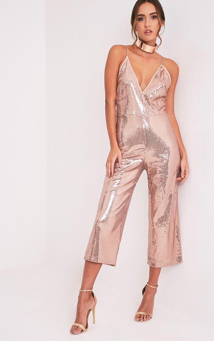 Carlyanne Pink Sequin Plunge Culotte Jumpsuit