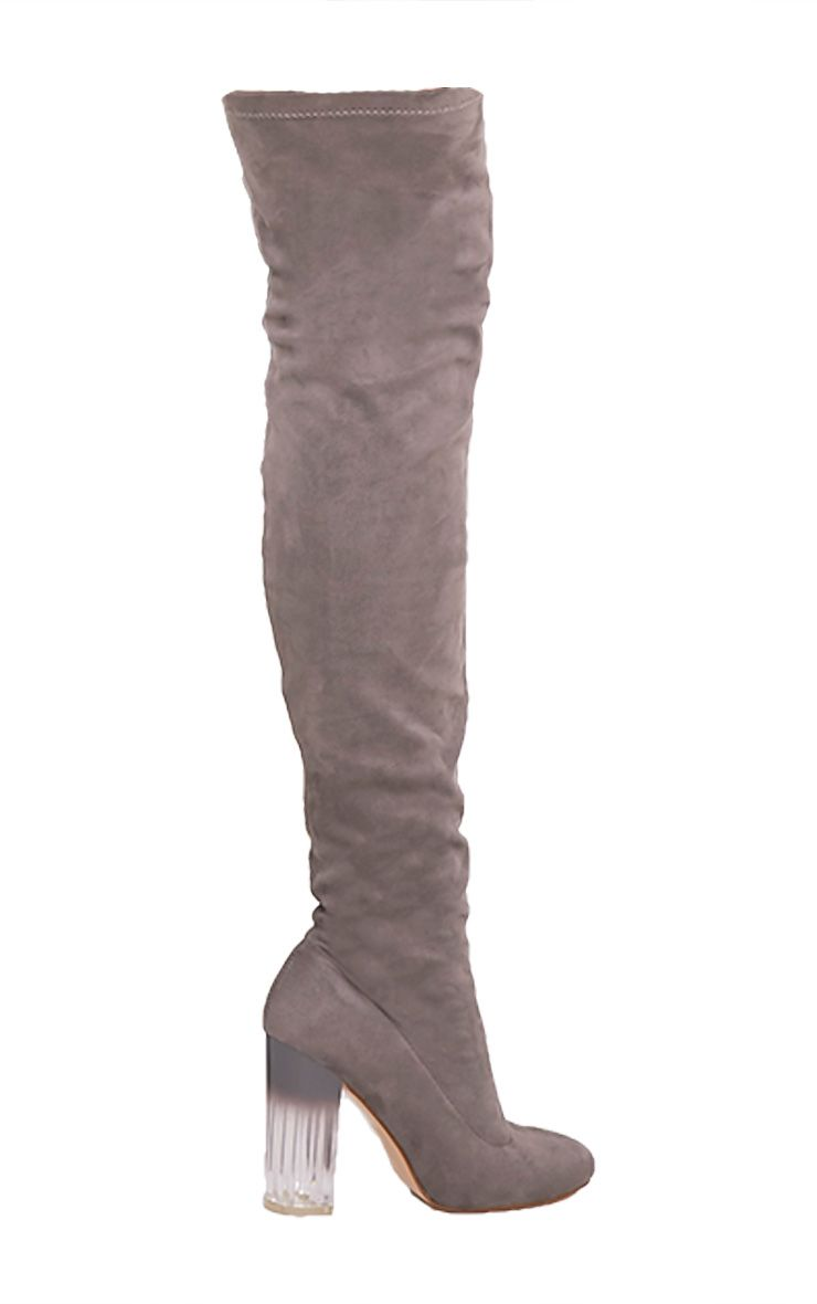 Fran Grey Faux Suede Ombre Heel Over The Knee Boots