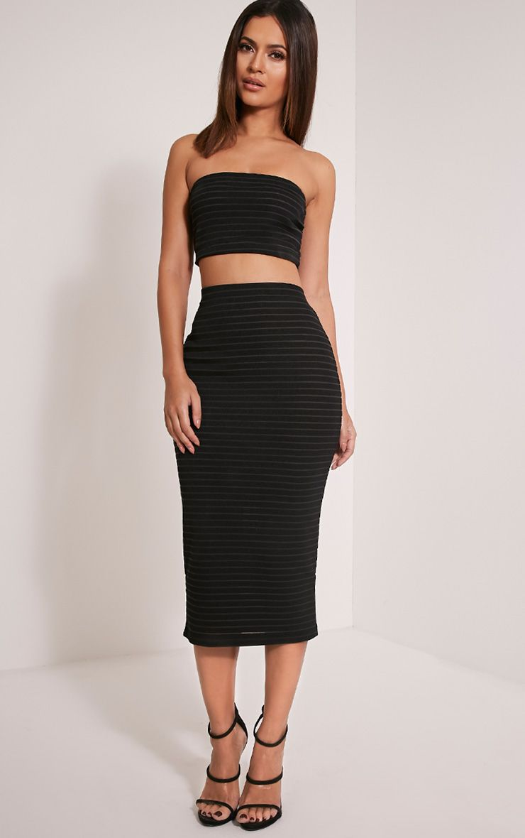 Kara Black Stripe Ribbed Midi Skirt 1