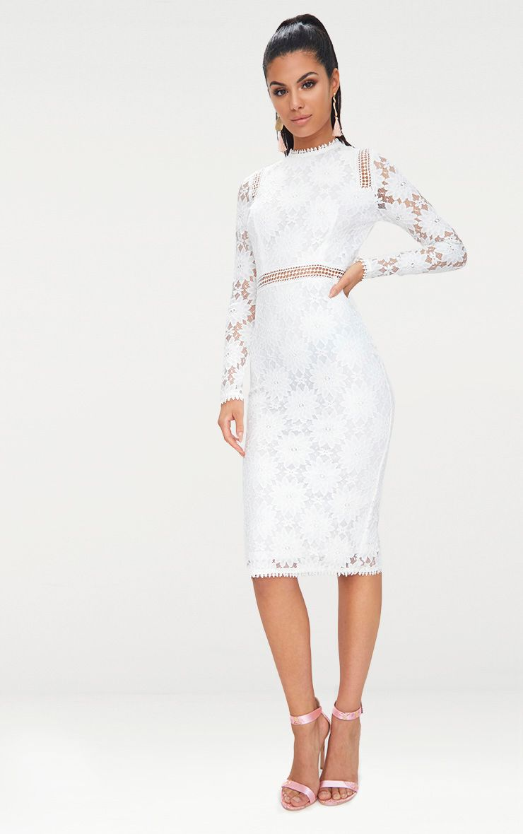 Caris White Long Sleeve Lace Bodycon Dress Dresses