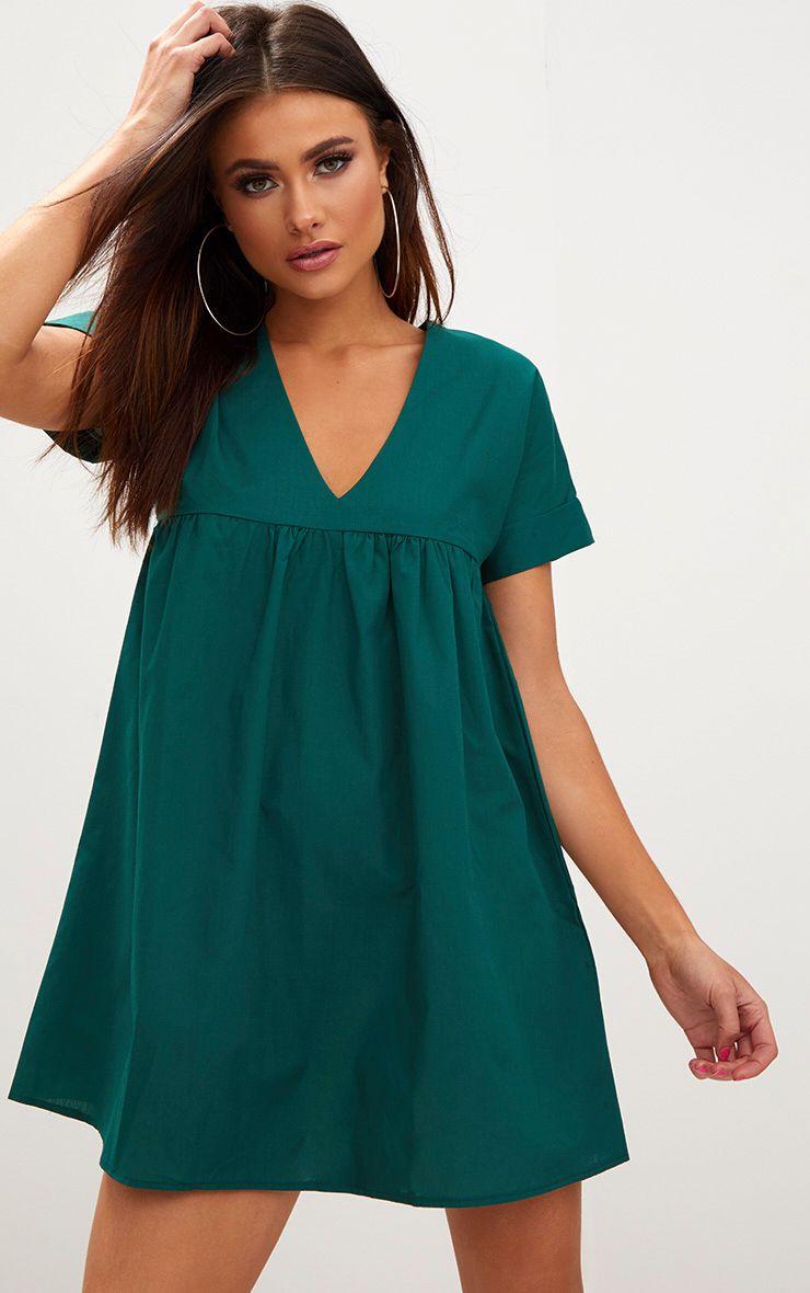 Forest Green Poplin Smock Dress 1