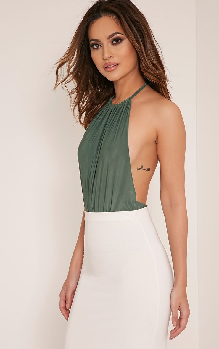 Angelika Khaki High Neck Halter Bodysuit