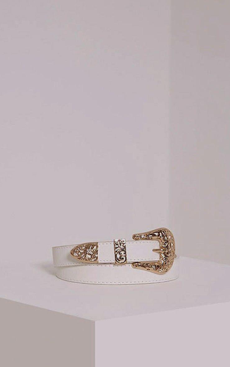 Madina White Gold Buckle Belt 1