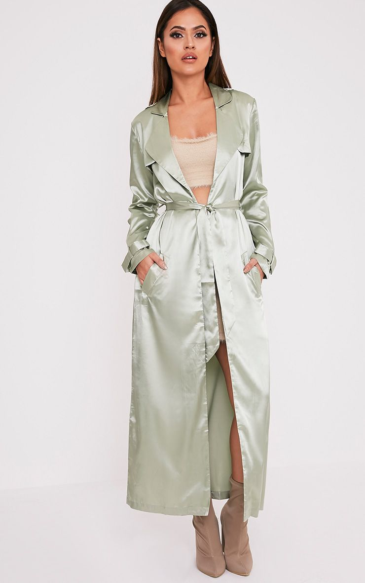 Celest Sage Green Satin Duster Mac 1