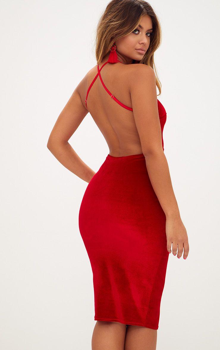 Robe midi en velours rouge col haut bretelles croisées dans le dos 1