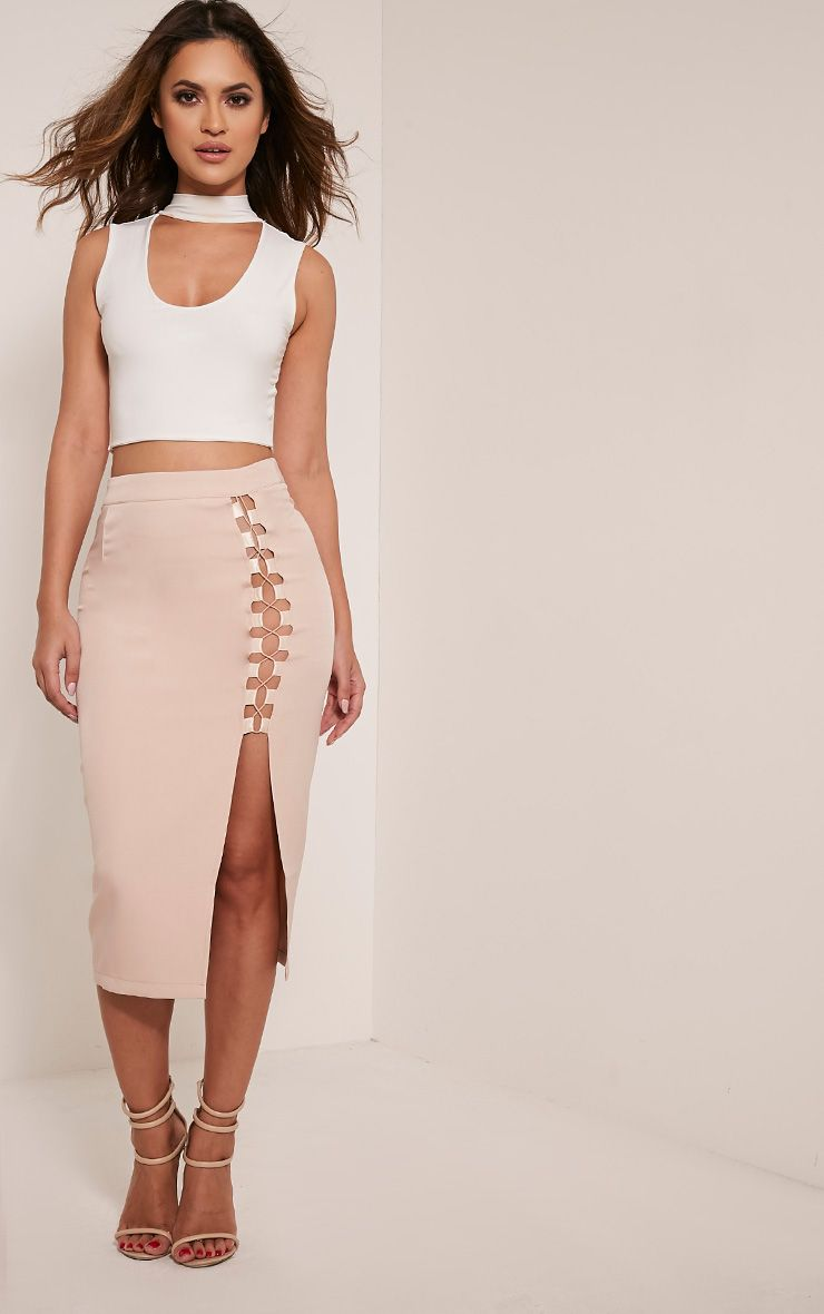 Janelle Nude Lace Up Midi Skirt 1