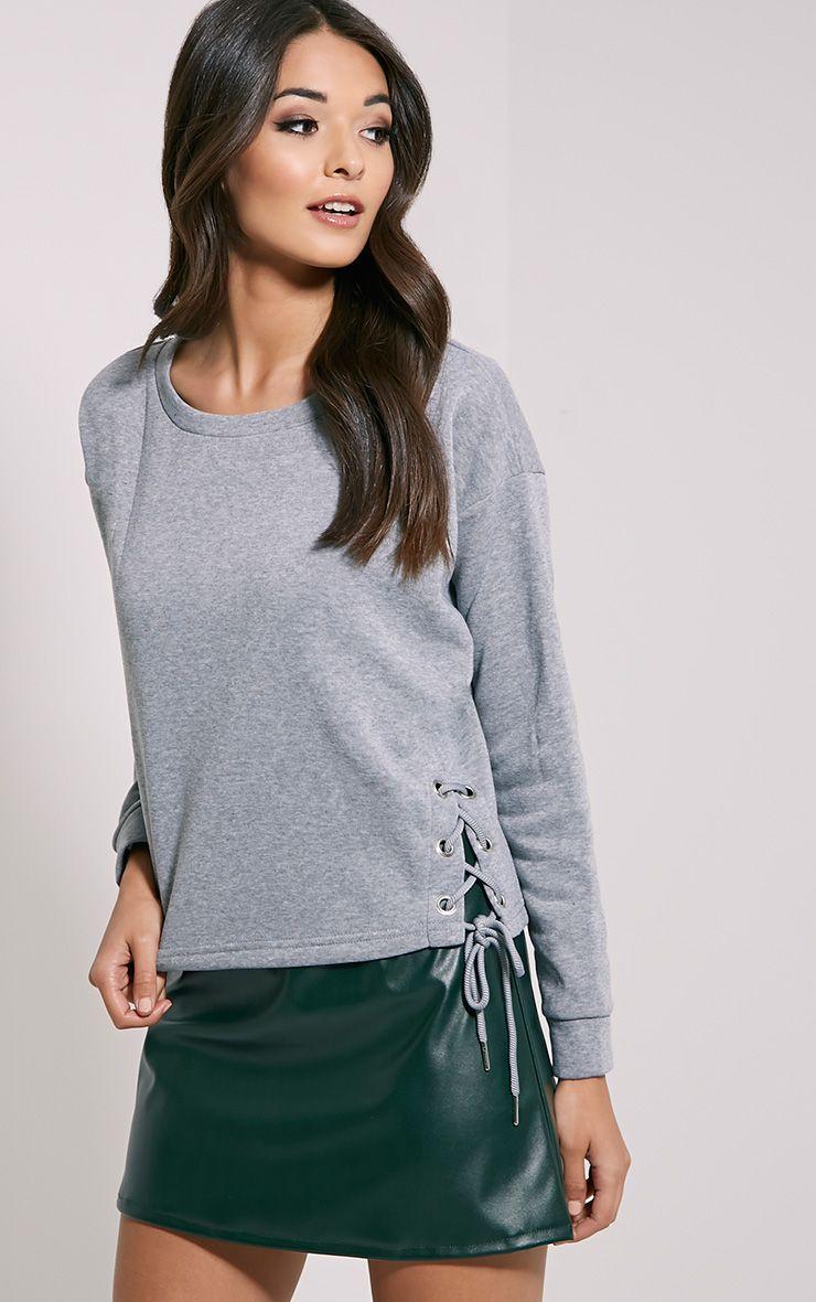 Kiera Grey Lace Up Side Sweatshirt 1