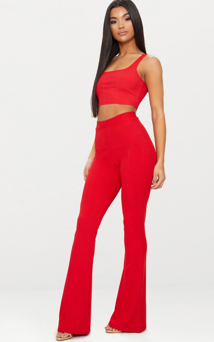 Red Bandage Flared Trouser
