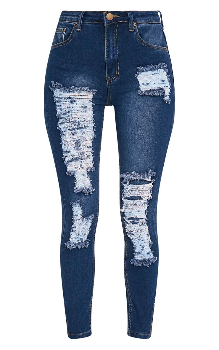 Related to High Waisted Embroidered Ripped Jeans - Light Blue - S