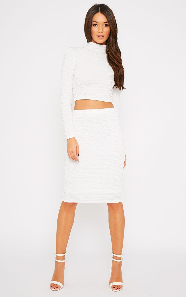 Lilly White Crinkle Midi Skirt 1