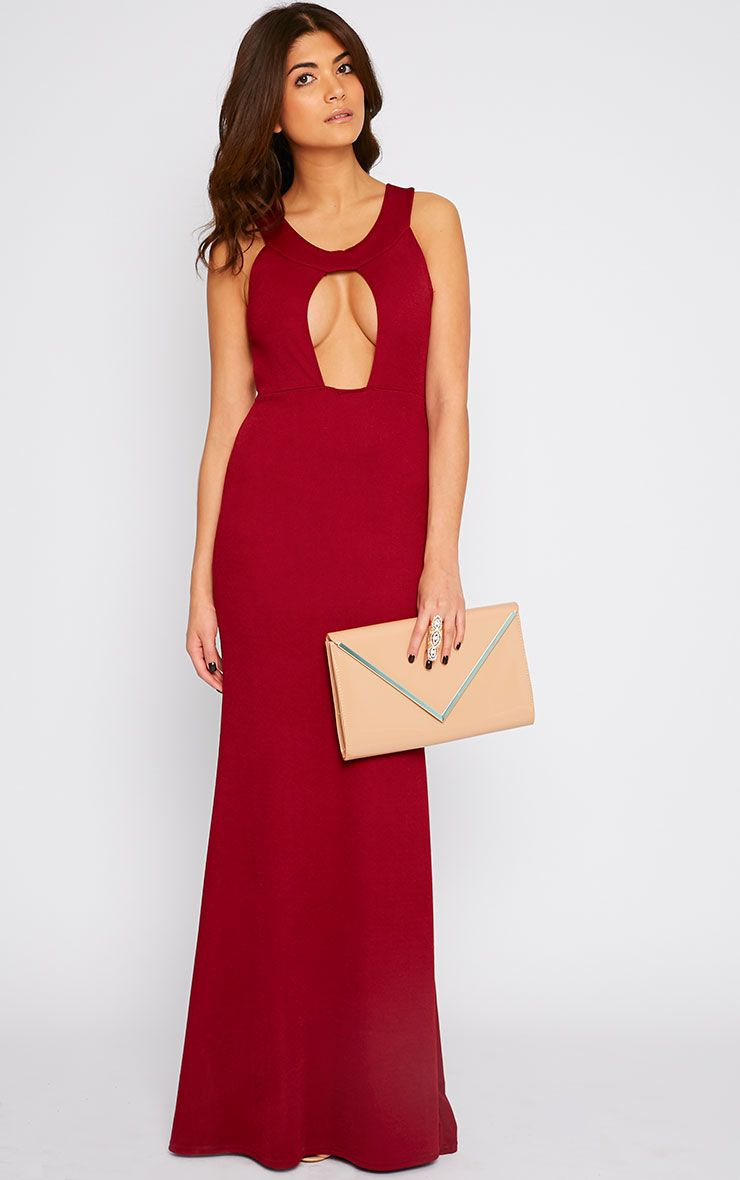 Brandy Red Plunge Maxi Dress