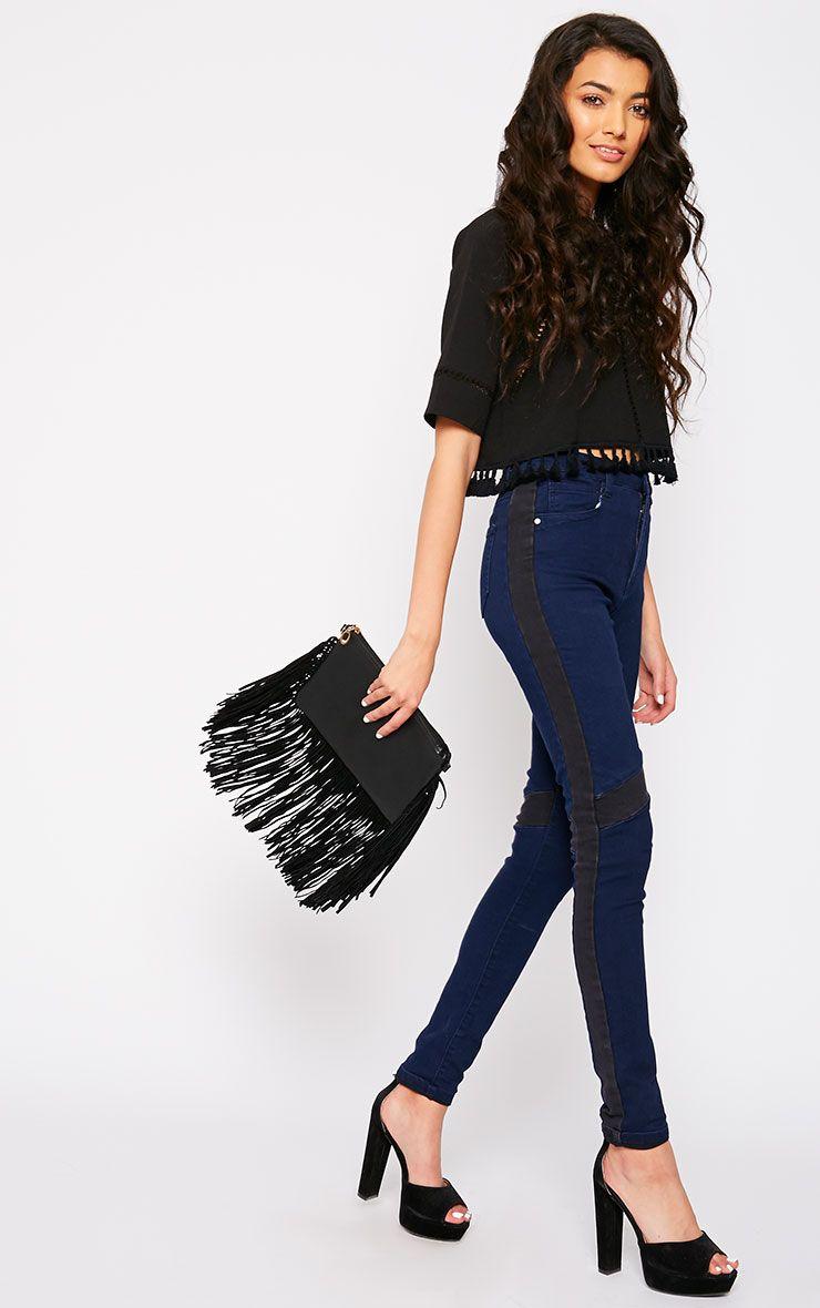 Bianca Blue Skinny Jean with Black Panel 1