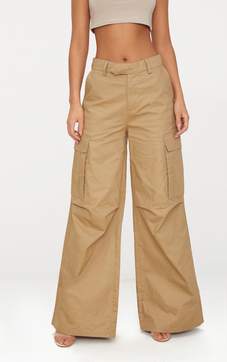 STONE WIDE LEG CARGO TROUSERS