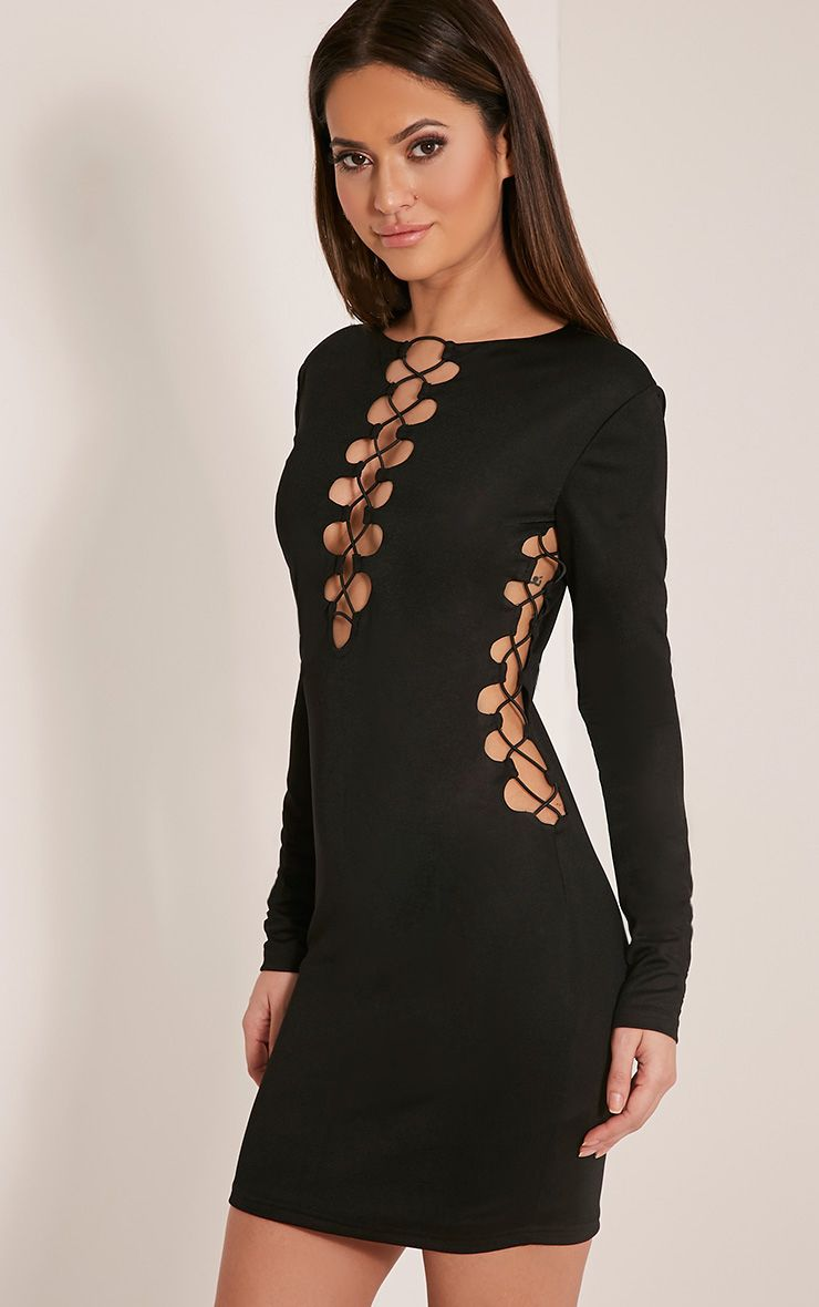Mellina Black Lace Up Detail Bodycon Dress 1