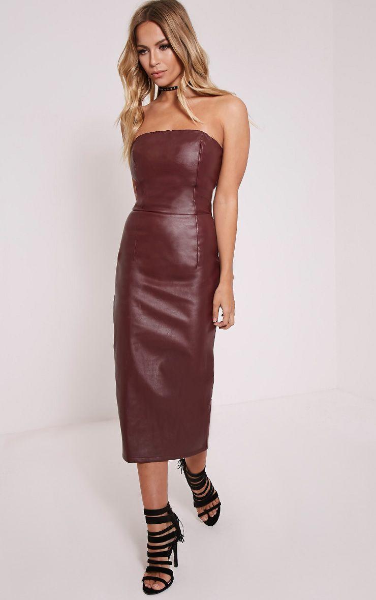 Adaline Burgundy Faux Leather Midi Dress 1