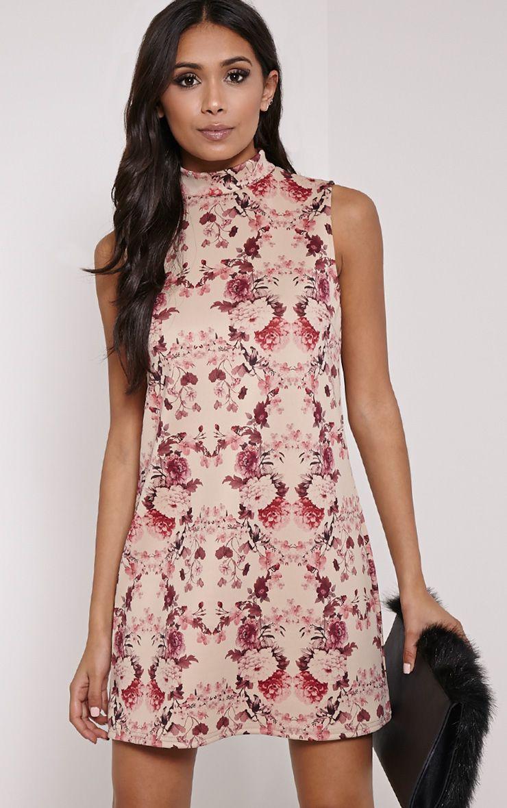 Ayla Burgundy Floral Print High Neck Shift Dress 1