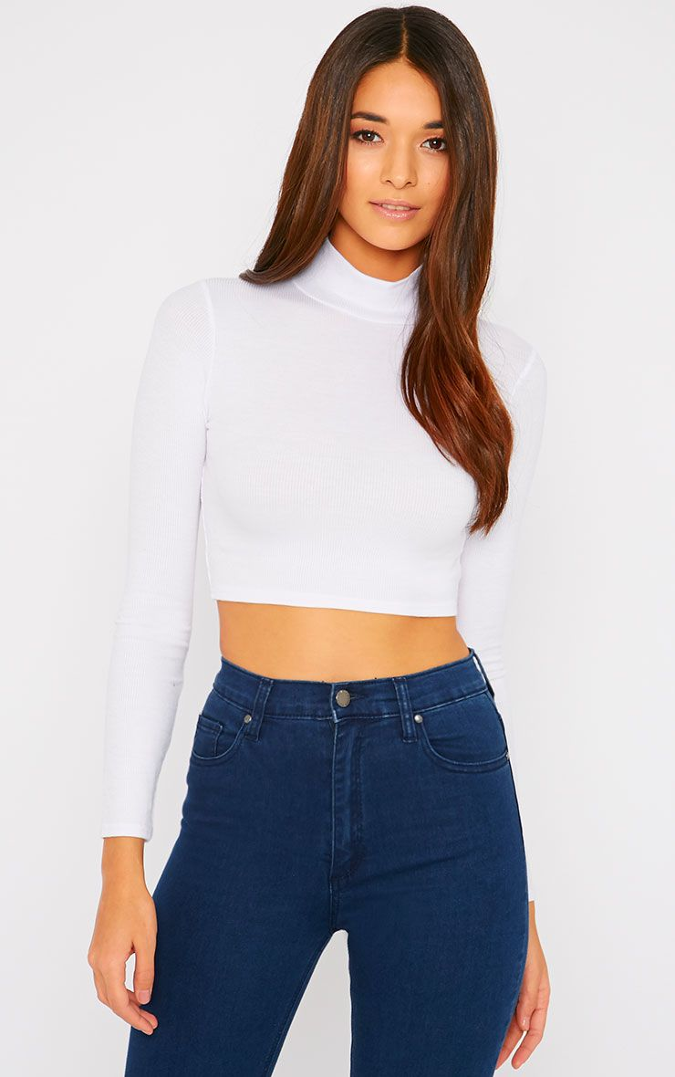 Basic White Ribbed High Neck Crop Top 1