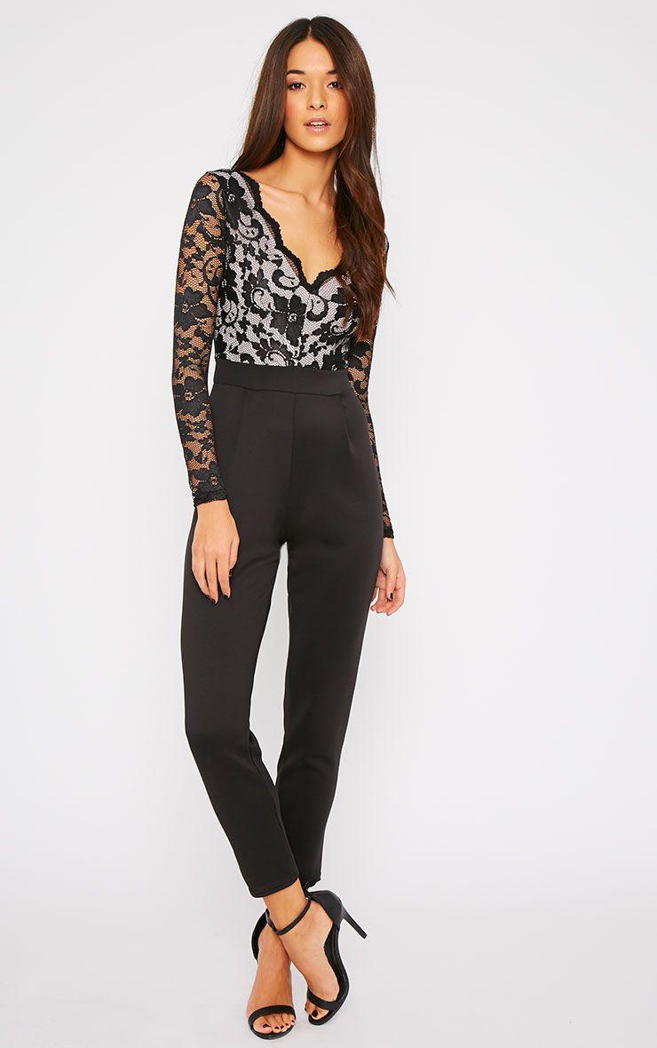 Brooklyn Black Lace Contrast Jumpsuit  1