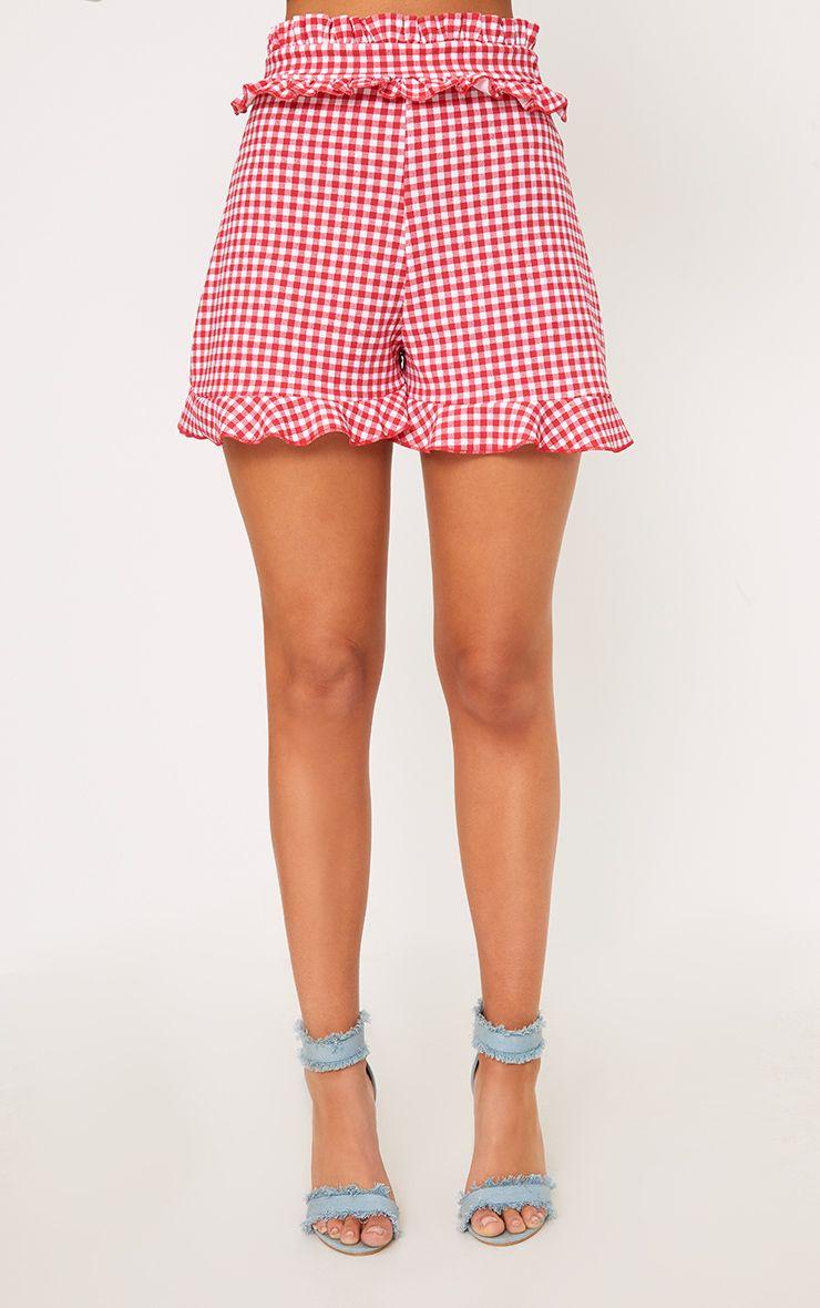 Short volants rouge carreaux vichy shorts for Short a carreaux