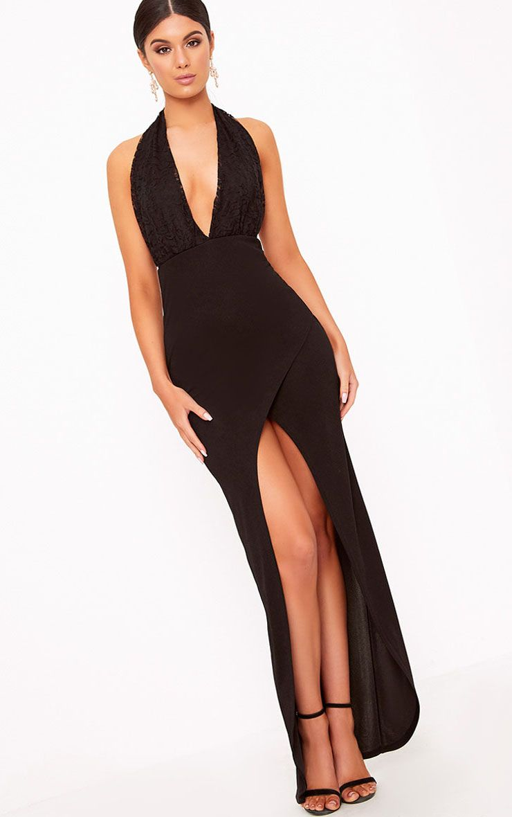 Black Halterneck Lace Detail Maxi Dress