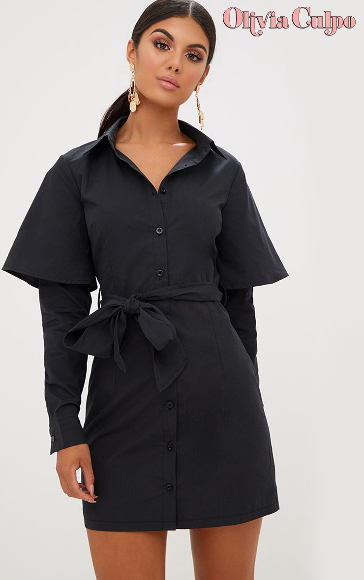 Black Double Cuff Tie Waist Shirt Dress