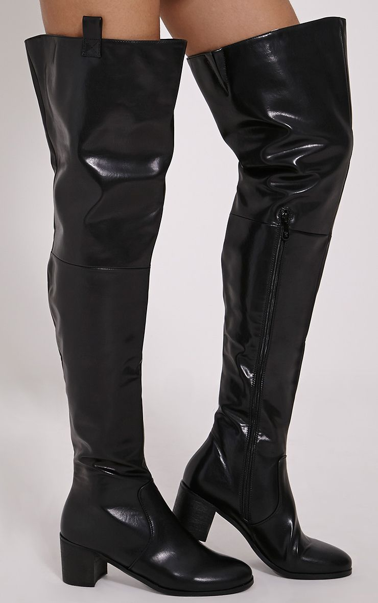 Cally Black Faux Leather Thigh High Over Knee Boots 1