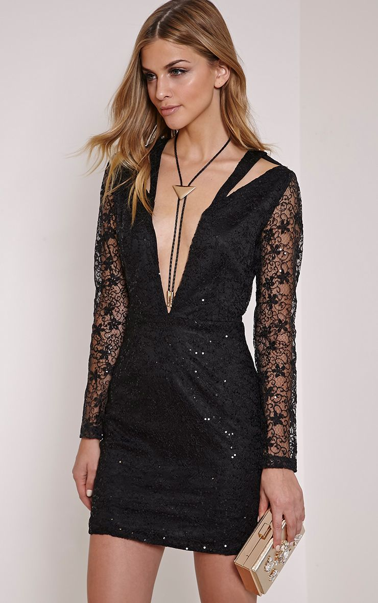 Sarinah Black Cut Out Plunge Lace Dress 1