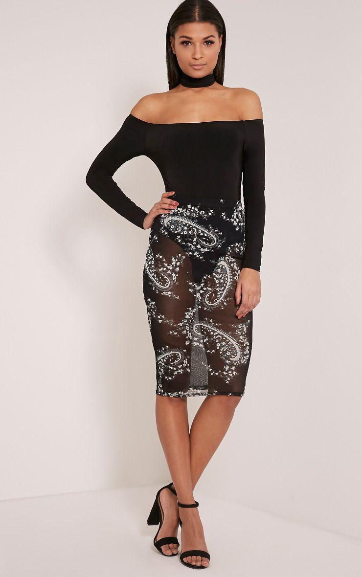 Pheobe Black Paisley Mesh Midi Skirt