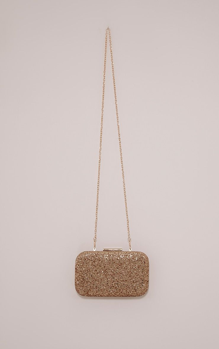 Vicky Gold Glitter Box Clutch Bag
