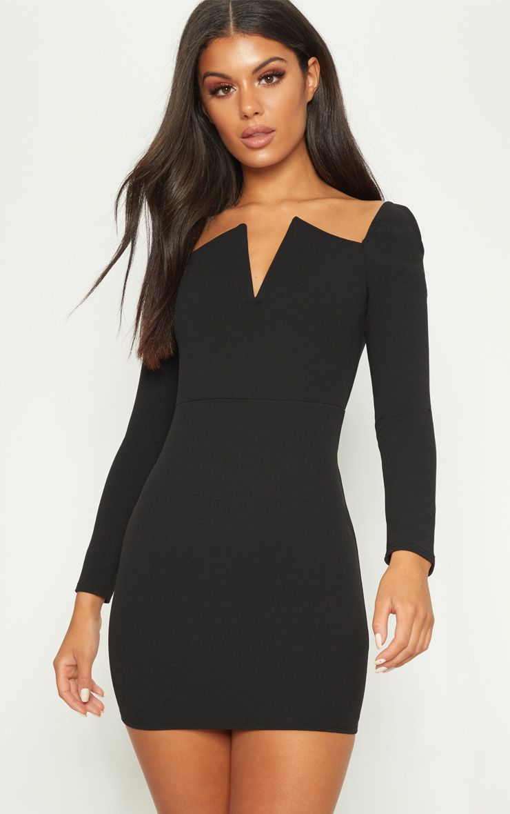 Black V Bar Square Neck Bodycon Dress
