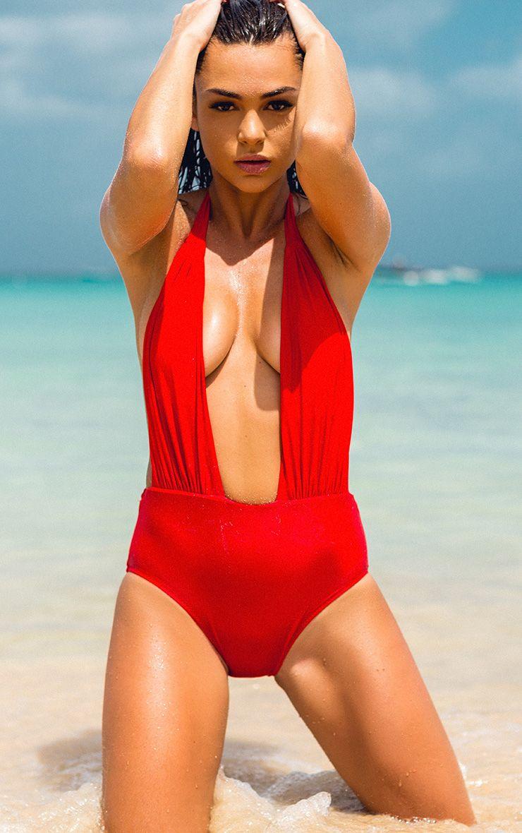 Evangelina Red Plunge Swimsuit