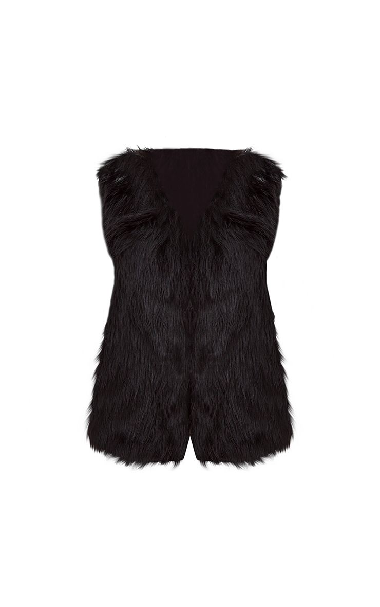 Veste sans manche noire en fausse fourrure vestes - Fourrure noir sans manche ...