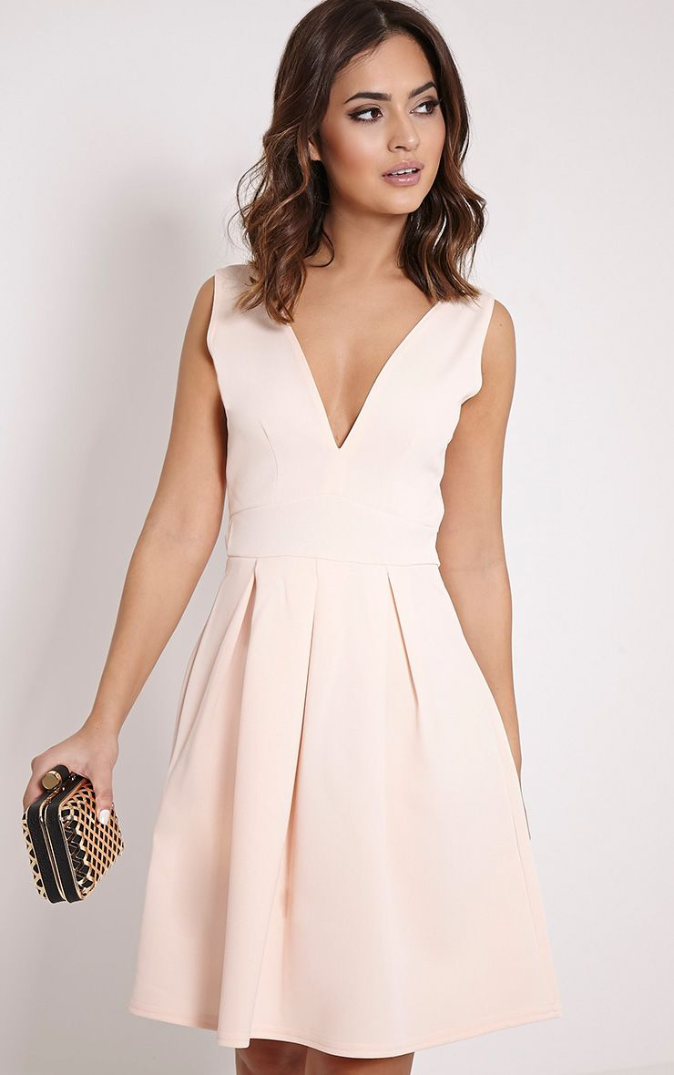 Leona Dusty Pink Plunge Front Skater Dress 1