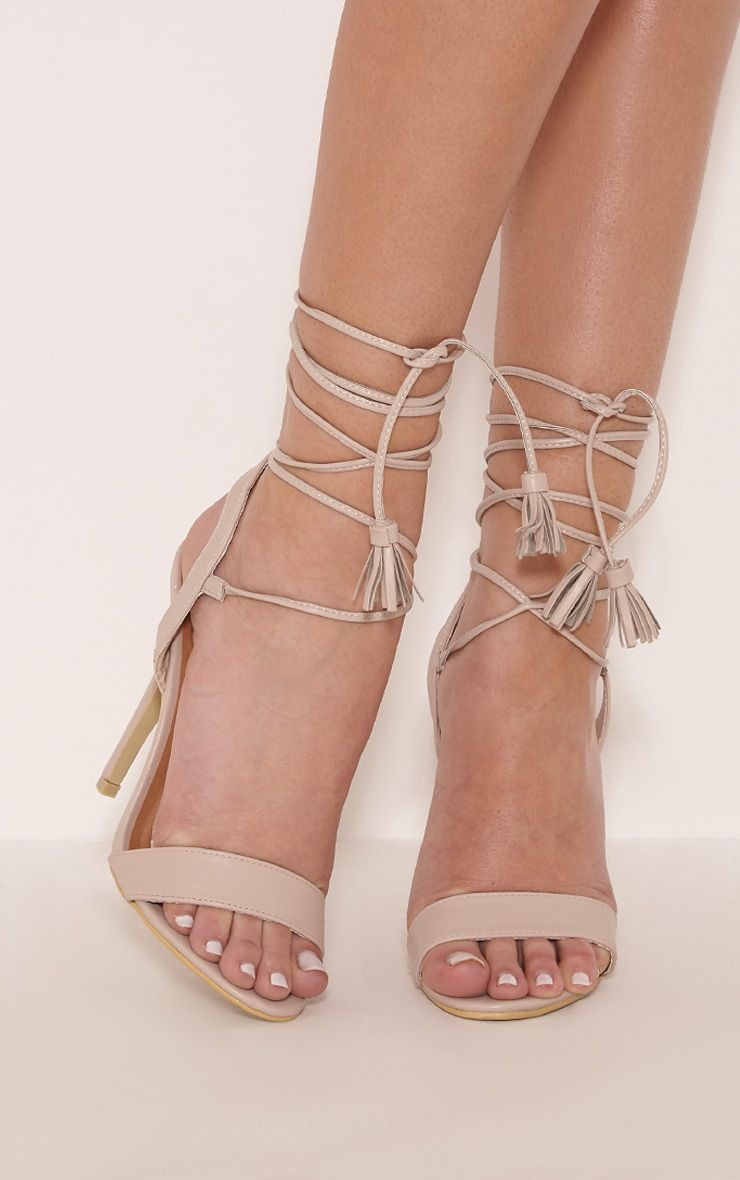Camila Nude Tassel Lace Up Heeled Sandals 1