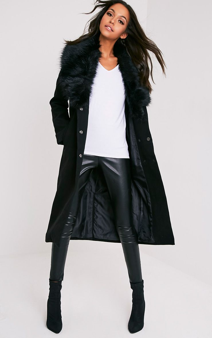 Delilah Black Faux Fur Collar Double Breasted Coat