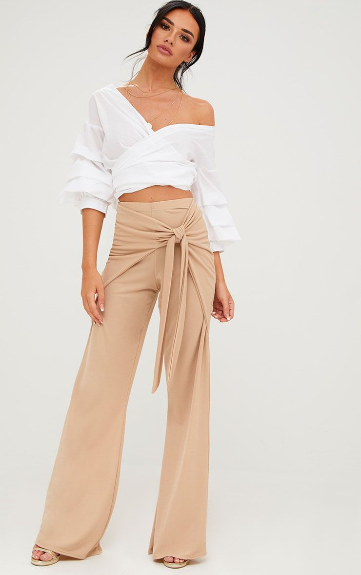 Stone Bow Wrap Wide Leg Casual Trousers
