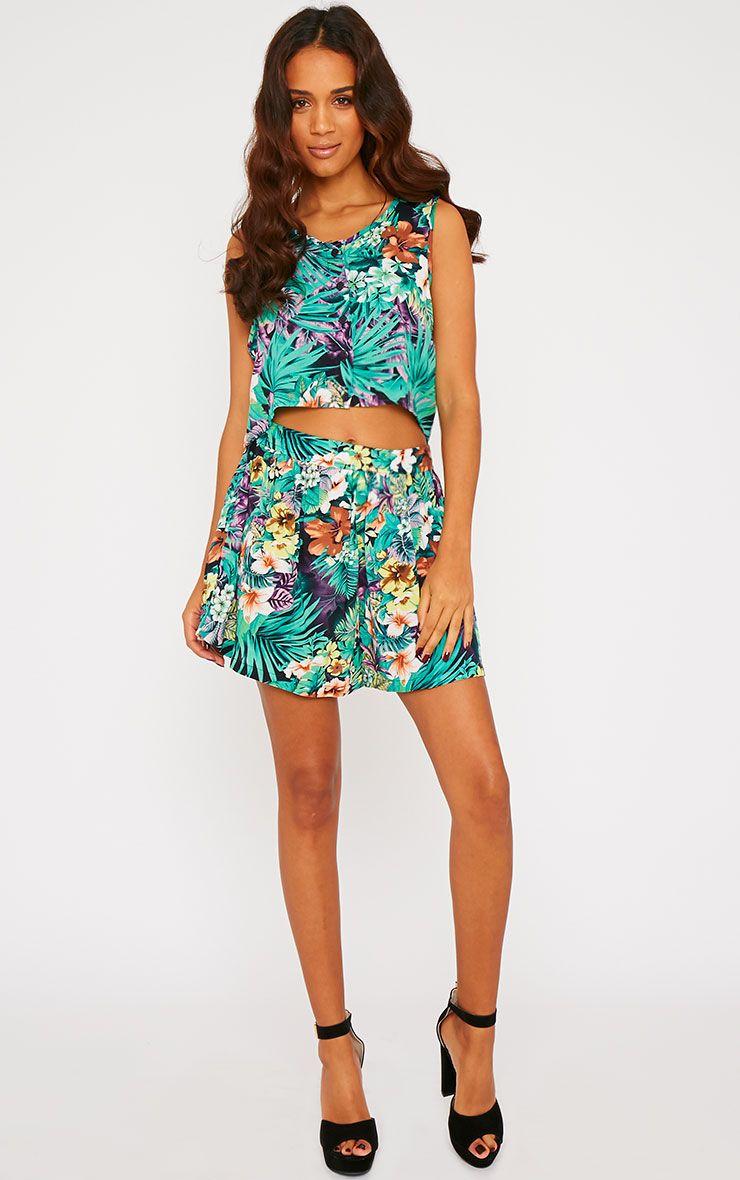 Paige Green Hawaiian Print Shorts 1