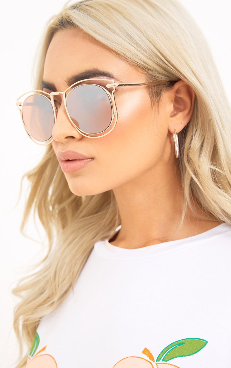 Tya Gold Oversized Frame Sunglasses