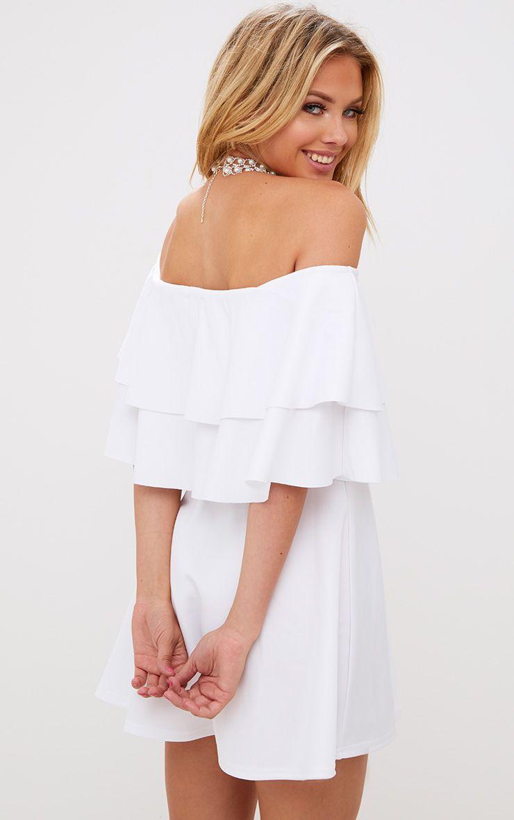 robe patineuse bardot blanche volants robes. Black Bedroom Furniture Sets. Home Design Ideas