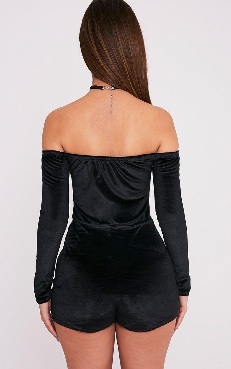Elsea combishort bardot en velours noir 2