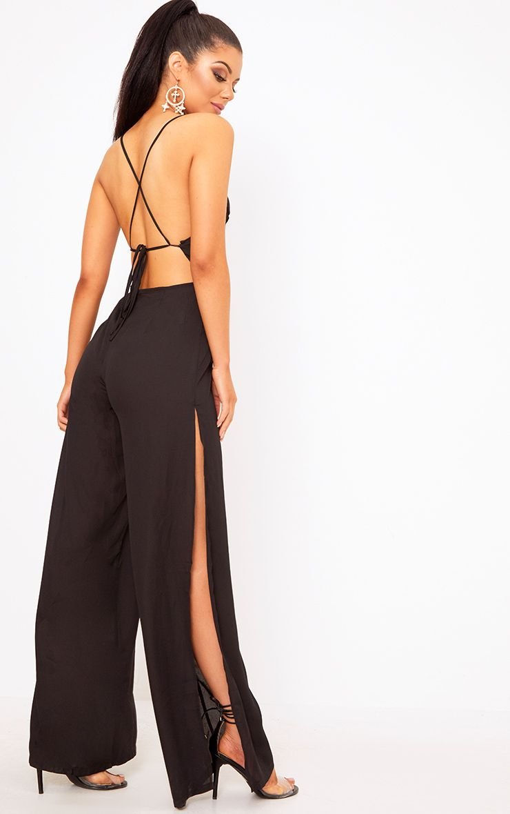 Black Plunge Side Split Leg Jumpsuit