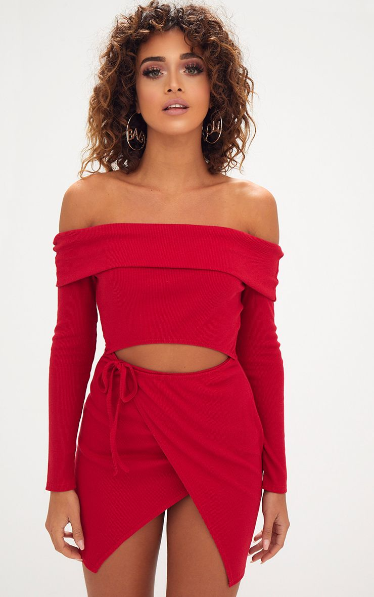 Red Bardot Wrap Tie Front Bodycon Dress