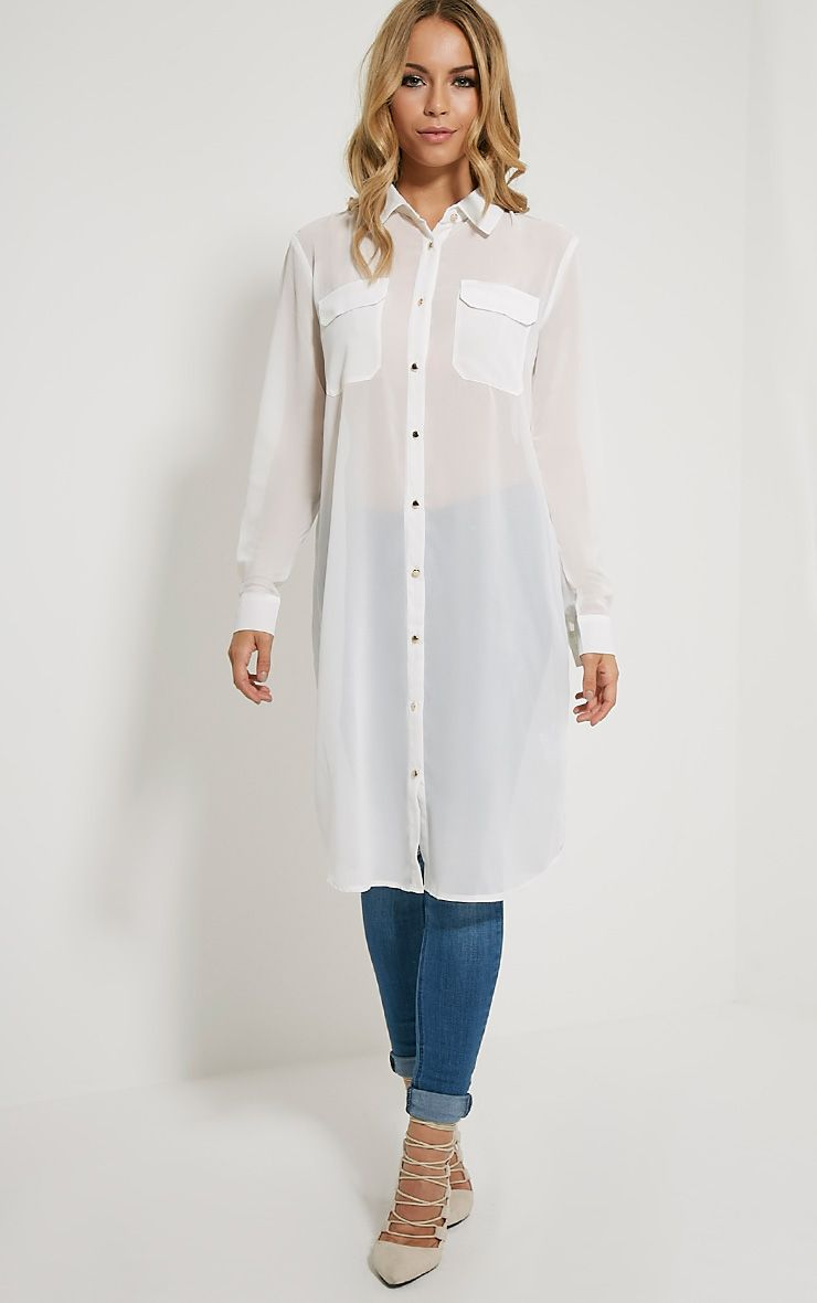 Loren Cream Sheer Shirt 1