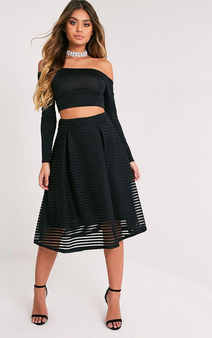 Suzanna Black Sheer Stripe Full Midi Skirt 1
