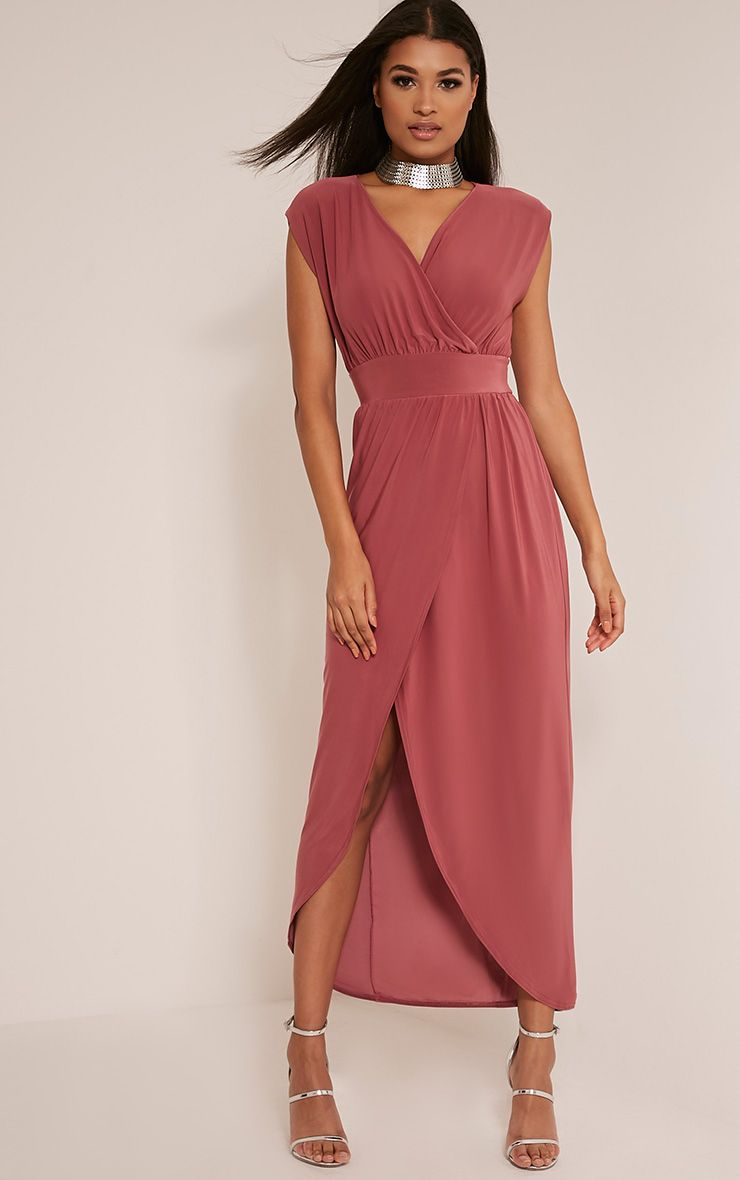 Marlisa Rose Slinky Plunge Maxi Dress