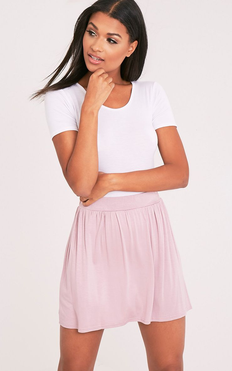 Basic Mauve Floaty Jersey Mini Skirt