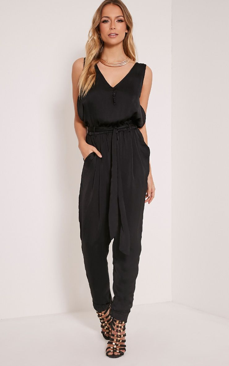 Sirena Black Silky Button Front Jumpsuit 1