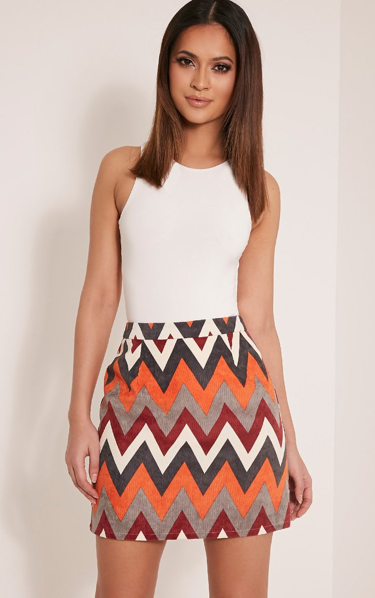 Annetta Orange Chevron Cord Mini Skirt 1